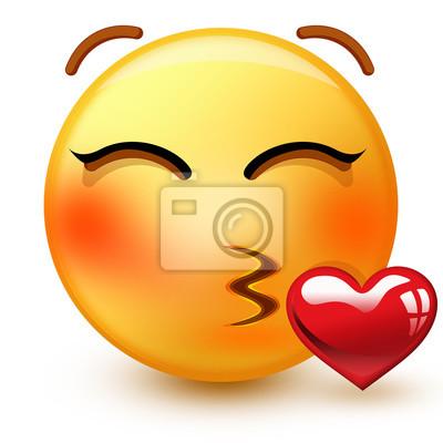 Mignon Emoticone De Visage Embrassant Ou 3d Emoji Tres Romantique Peintures Murales Tableaux Emoticones Smileys Rougir Myloview Fr