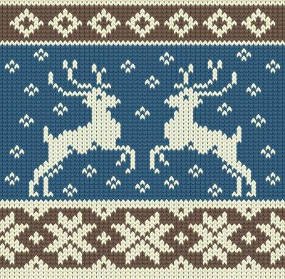 Image Mignon fond à tricoter avec deux rennes et des flocons de neige