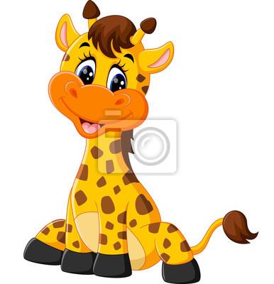 Mignon Girafe Dessin Anime Illustration Peintures Murales Tableaux Bouteille De Lait Mascotte Cou Myloview Fr