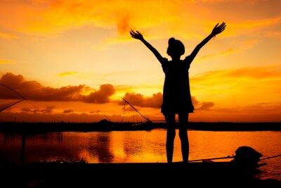 Image Mignon, girl, jouer, rivière, coucher soleil, fond