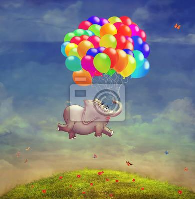 Mignon, Illustration, voler, éléphant, ballons, ciel