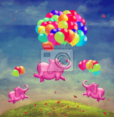Mignon, Illustration, voler, éléphants, ballons, ciel