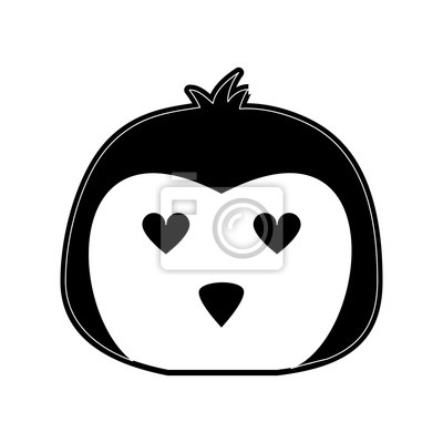 Mignon Pingouin En Amour Dessin Anime Icone Vector Illustration