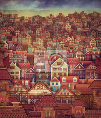 Mignon, ville, rue, scène, beaucoup, Maisons