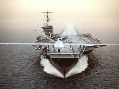 Image Militaire, drone, lancement, depuis, aéronef, porteur, grève, mission 3d rendu