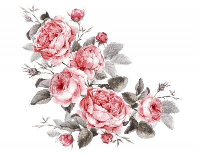 Image Millésime classique carte de voeux floral, aquarelle bouquet de