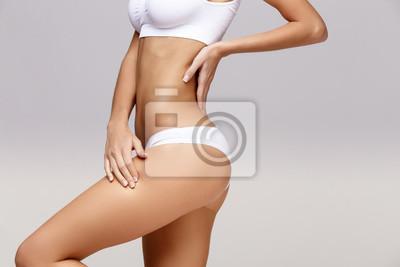 Image Mince, tanné, femme, corps, gris, fond