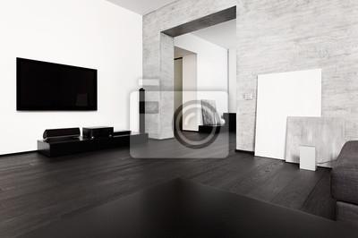 Minimalisme moderne de style salon intérieur en noir peintures ...