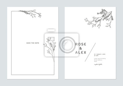 Image Minimalist wedding invitation card template design, floral black line art ink drawing bouquet decorated on line frame on white