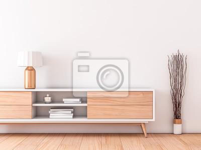 Mockup mur intérieur moderne avec bureau moderne pour smart tv