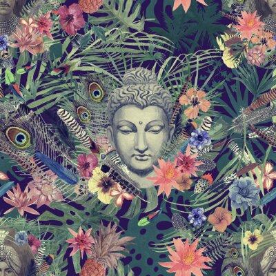 Image Modèle aquarelle dessiné main transparente avec tête de Bouddha, maharajah, fleurs, plumes, palmiers.