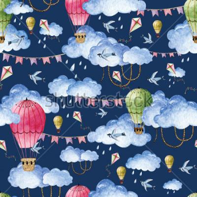 Image Modèle d'aquarelle avec des ballons et des nuages