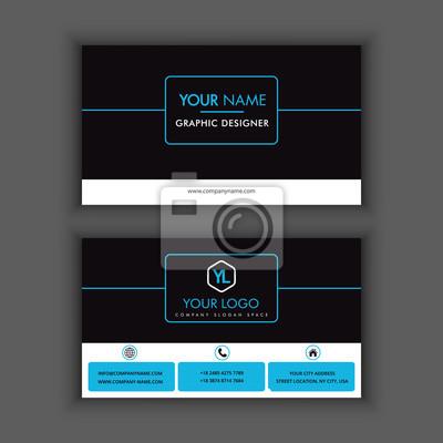 Image Modle De Carte Visite Cratif Et Propre Moderne Avec La Couleur Bleue Fonce