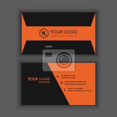 Image Modle De Carte Visite Cratif Et Propre Moderne Avec La Couleur Orange Noire