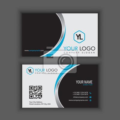 Image Modele De Carte Visite Creative Et Propre Moderne Avec Couleur Chrome Bleue
