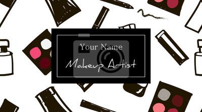Image Modle De Carte Visite Maquillage Ensemble Motifs Cosmtiques Dessins La