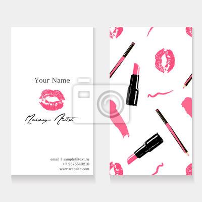 Image Modele De Carte Visite Pour Le Maquilleur Impression Fond Transparente Cosmetiques