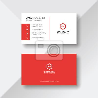 Image Modèle de carte de visite rouge et blanc simple et propre