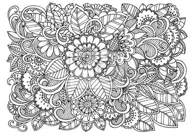 Coloriage Adulte Blanc.Modele De Fleur Noir Et Blanc Pour Livre De Coloriage Adulte