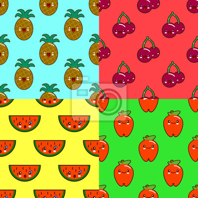 Modele De Fruits Kawaii Sur Fond De Couleur Pasteque Ananas