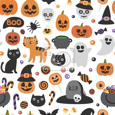 Image Modèle De Halloween Sans Soudure Mignon De Vecteur Personnages