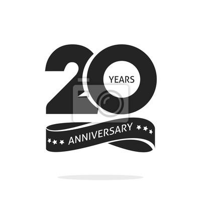 Image Modèle De Logo Anniversaire 20 Ans Isolé Sur Timbre Blanc Noir