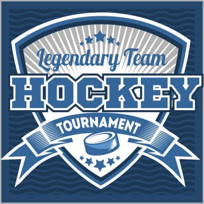Image Modèle de logo d'équipe de hockey. Emblème, modèle de logo, conception d'habillement de T-shirt. Badge sportif pour tournoi ou championnat