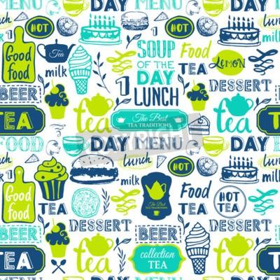 Image Modèle de menu. Illustration vectorielle avec des lettrages alimentaires délicieux et des étiquettes sur fond blanc. Eléments décoratifs pour votre conception d'emballage. Couleurs vertes.