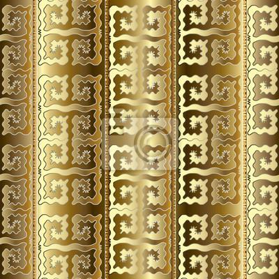 Modele Dore A Rayures Dorees De Luxe Fond Decran Geometrique Peintures Murales Tableaux Meandre Grec Rideau Myloview Fr