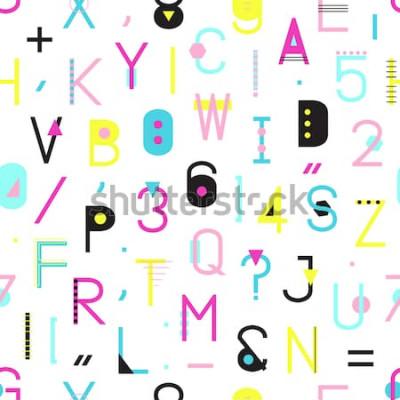 Image Modèle sans couture alphabet coloré avec chiffres et ponctuation de formes géométriques isolés sur fond blanc. Typographie créative enveloppant la texture dans le style de Memphis. Illustration de hip