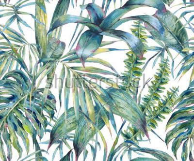 Image Modèle sans couture aquarelle exotique de feuilles naturelles, feuilles tropicales vertes, fougère, jungle dense, Illustration de l'été botanique peinte à la main sur fond blanc