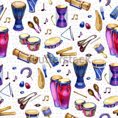 Image Modèle sans couture avec batterie dans un style Aquarelle sur fond blanc. Instruments de musique à percussion. Design coloré pour une fête rétro dans le style de memphis. illustration
