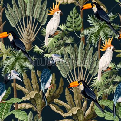 Image Modèle sans couture avec des arbres exotiques et des oiseaux sauvages, des perroquets et des toucans.