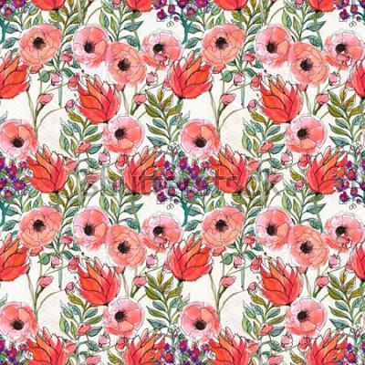 Image Modèle sans couture avec des fleurs colorées