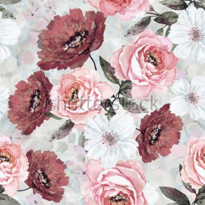 Image Modèle sans couture avec des fleurs et des feuilles. Fond floral pour papier peint, papier et tissu. Aquarelle avec des roses roses et bourguignonnes.