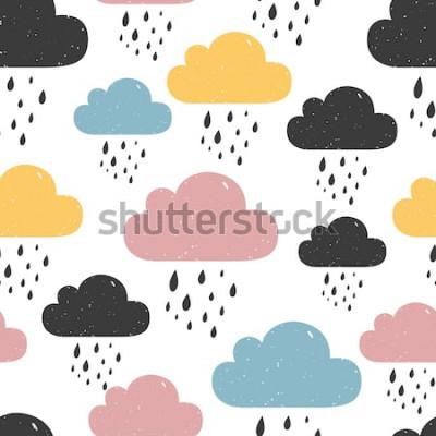 Image Modèle sans couture avec des nuages colorés Illustration vectorielle