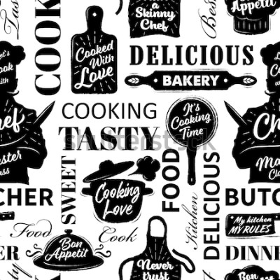 Image Modèle sans couture avec des objets de cuisson. Illustration vectorielle