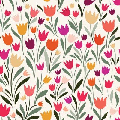 Image Modèle sans couture avec des tulipes dessinées à la main