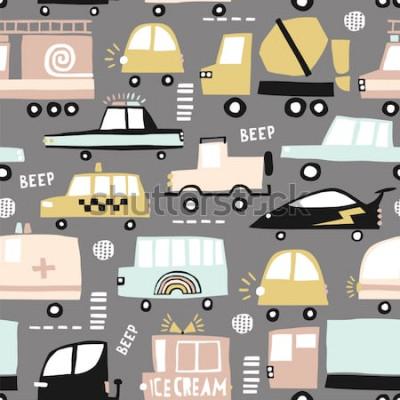 Image Modèle sans couture avec des voitures mignonnes. Voitures de bande dessinée, trappes routières, illustration vectorielle de passage clouté. Parfait pour le tissu, le textile et le papier peint pour en