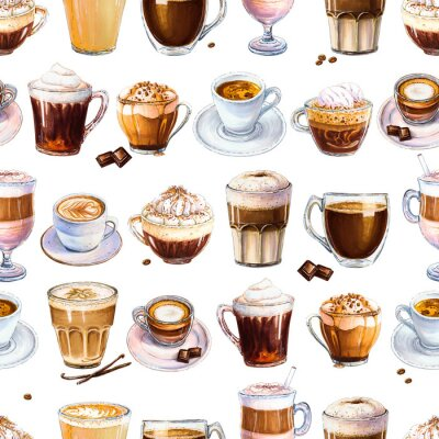 Image Modèle sans couture avec différentes boissons au café sur fond blanc. Illustration d'espresso, latte et americano, cappuccino et autres cafés savoureux. Dessinés à la main par des marqueurs, aquarelle