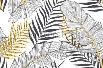 Image Modèle sans couture avec feuilles de palmier doré et de banane en vecteur