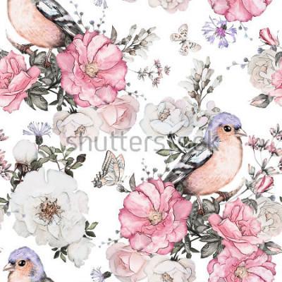 Image Modèle sans couture avec fleurs roses, oiseau - pinson et feuilles sur fond blanc, motif floral aquarelle, fleur est passée dans la couleur pastel, tuile pour le papier peint, carte vintage ou tissu