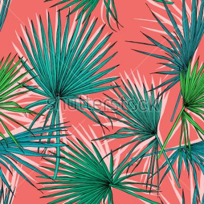 Image Modèle sans couture avec l'image d'un palmier vert laisse sur un fond corail. Illustration vectorielle