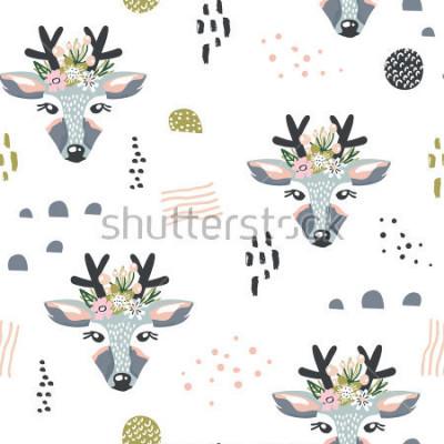 Image Modèle sans couture avec les cerfs, les éléments floraux, les branches. Fond de bois créatif. Parfum pour l'habillement des enfants, tissu, textile, décoration de pépinière, papier d'emballag