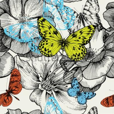 Image Modèle sans couture avec roses en fleurs et papillons volants, dessin à la main. Illustration vectorielle