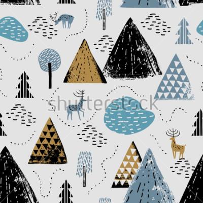 Image Modèle sans couture avec un paysage de montagne, raindeer et forêt. Parfait pour les cartes, les invitations, le papier peint, les bannières, la maternelle, le baby shower, la décoration de chambre d