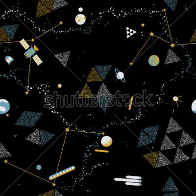 Image Modèle sans couture bébé - espace, vaisseaux spatiaux et planètes avec des étoiles. Les enfants branchés fond de vecteur.