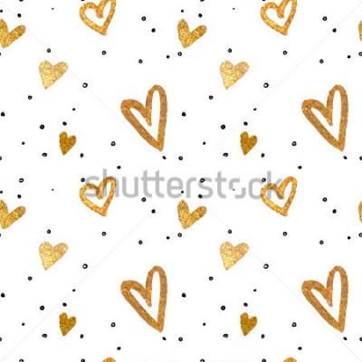 Image Modèle sans couture dans le coeur d'or. Style de brosse à main levée. Illustration vectorielle métallisée