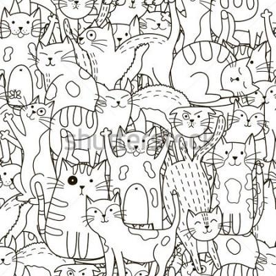 Image Modèle sans couture de chats doodle. Fond mignon noir et blanc. Idéal pour le livre de coloriage, l'emballage, l'impression, le tissu et le textile. Illustration vectorielle