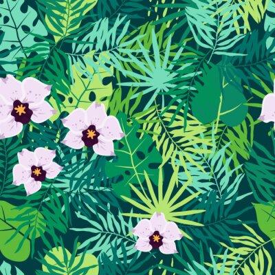 Image Modèle sans couture de jungle avec des feuilles tropicales et orchidée.